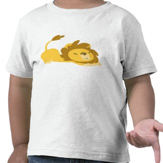 Cartoon Stretching Lion children T-shirt shirt