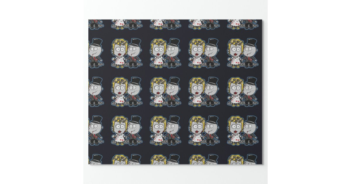 Zombie Wedding Gifts: Cartoon Zombie Bride And Groom Wedding Gift Wrap