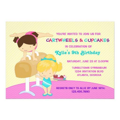 Cartwheels And Cupcakes Gymnastics Birthday Party 5x7