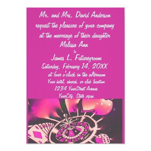 Casino Wedding Invitations: Casino Gambler Theme Wedding Invitation Pink