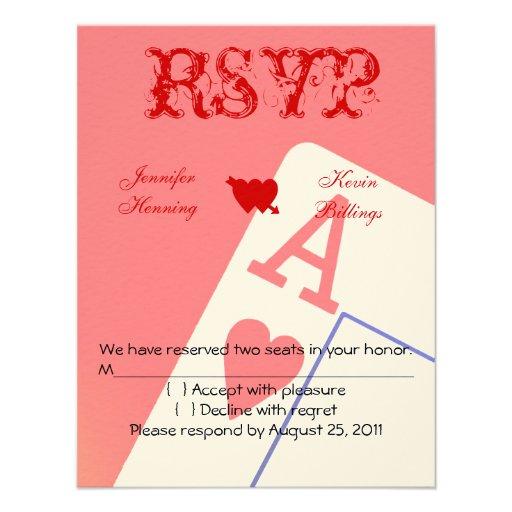 "Casino Wedding Invitations: Casino Las Vegas Wedding RSVP Card 4.25"" X 5.5"" Invitation"