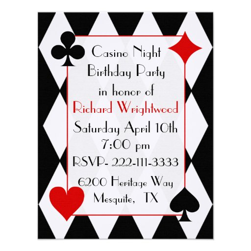 Casino Themed Birthday Party Invitations