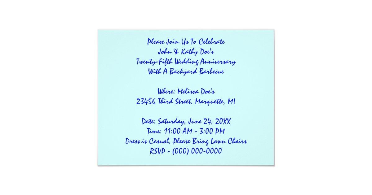 Twenty Fifth Wedding Anniversary Gift Ideas: CASUAL TWENTY-FIFTH SILVER ANNIVERSARY INVITATIONS