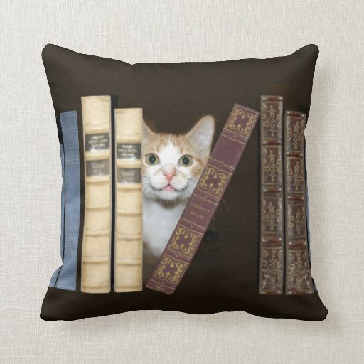 Cat And Books Throw Pillow Zazzle