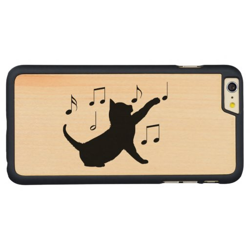 Cat And Musical Notes In Silhouette Carved® Maple IPhone 6