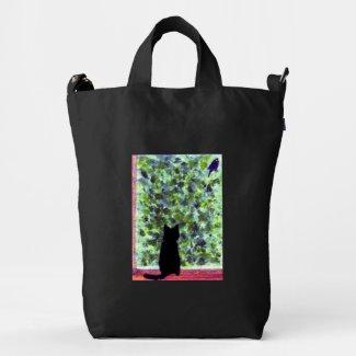 """Cat Art Black Cat bird watching"""" Duck Canvas Bag"""