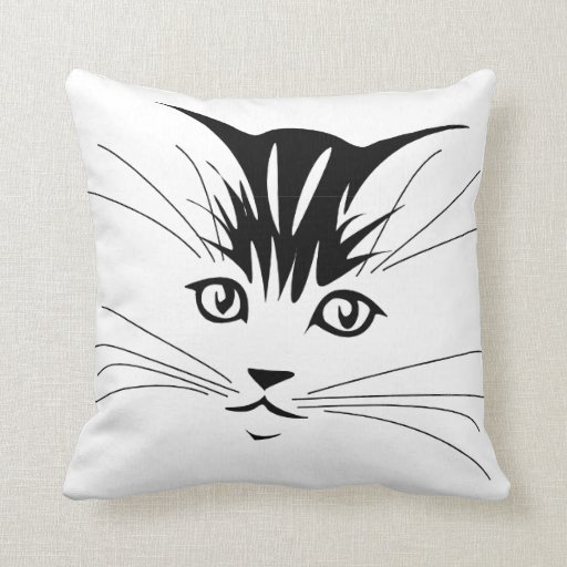 Cat Face Drawing Throw Pillow | Zazzle