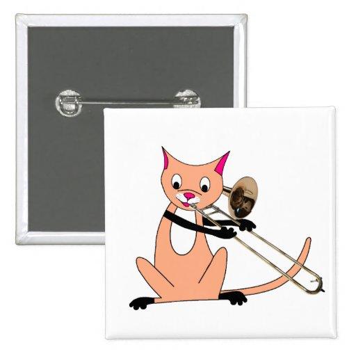 Cat Playing the Trombone Button | Zazzle