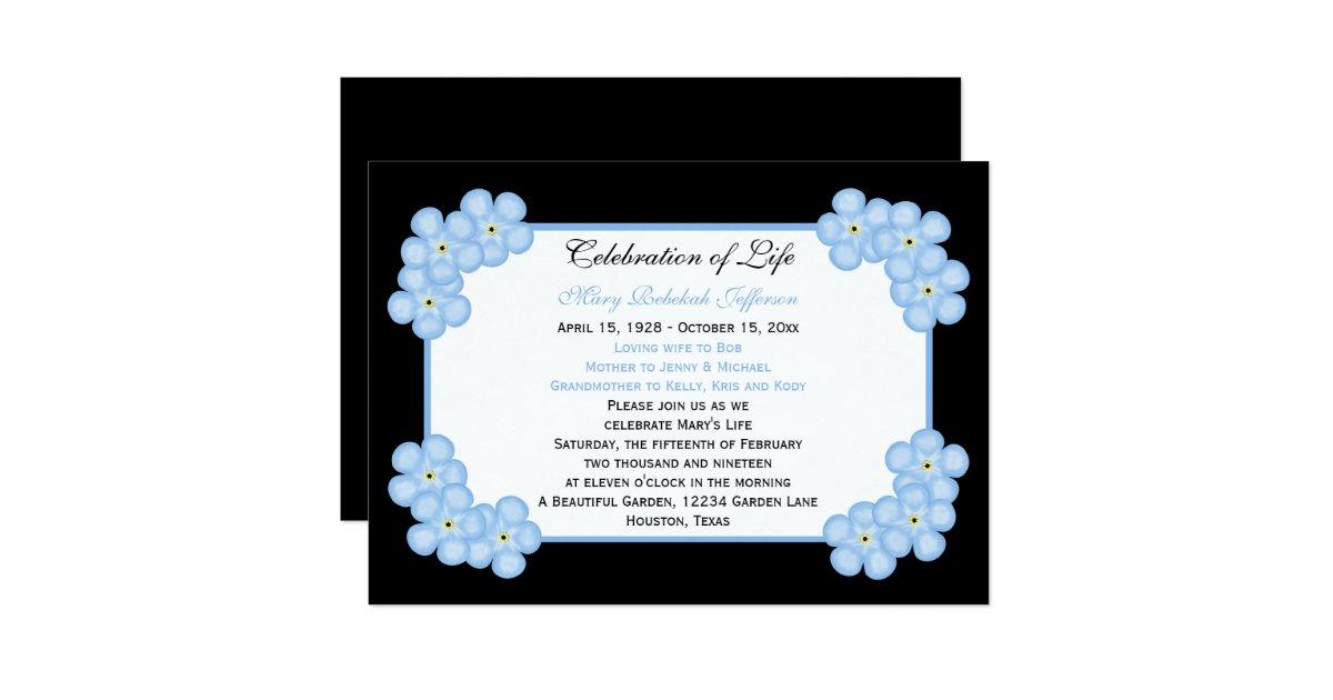 Forget Me Not Wedding Invitations: Celebration Of Life Invitation -- Forget Me Nots