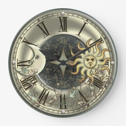 Celestial Sun And Moon Wall Clock Zazzle