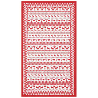 Chalet Red and White Christmas Deer and Snowflakes Tablecloth