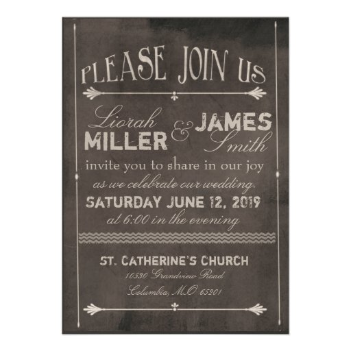"Wedding Invitations Old Fashioned: Chalk Board Wedding Invitation With Old Fashioned 5"" X 7"