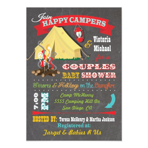 Camping Theme Invitations: Chalkboard Camping Baby Shower Invitations