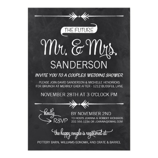 Chalkboard Couples Wedding Shower 5x7 Paper Invitation