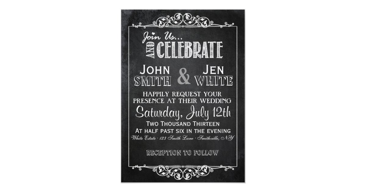 Flourish Wedding Invitations: Chalkboard Framed Flourish Wedding Invitation