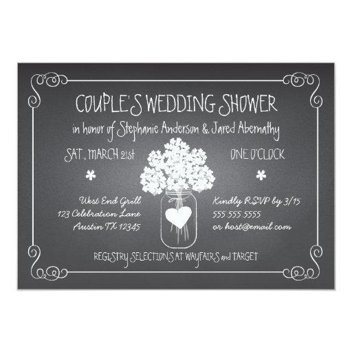Chalkboard Mason Jar Rustic Couples Wedding Shower Card