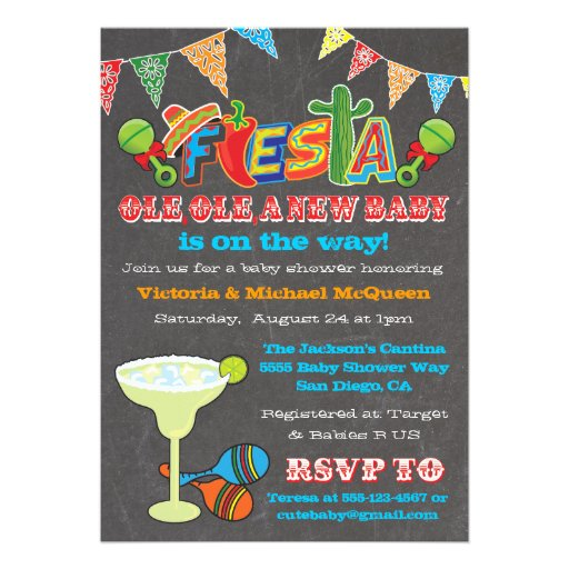 Chalkboard Mexican Fiesta S Baby Shower Invitation