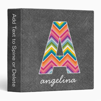 Chalkboard Monogram Letter A With Bright Chevrons 3 Ring