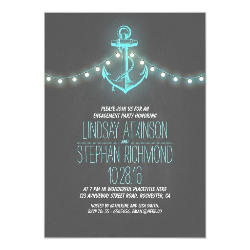 Chalkboard Engagement Party Invitation Printable By: Chalkboard Nautical Engagement Party Invitation