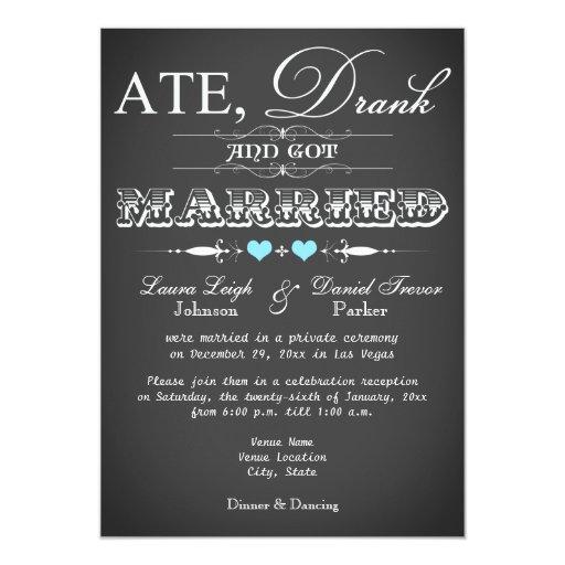 Wedding Reception Only Invitations: Chalkboard Style Wedding Reception Only Invite