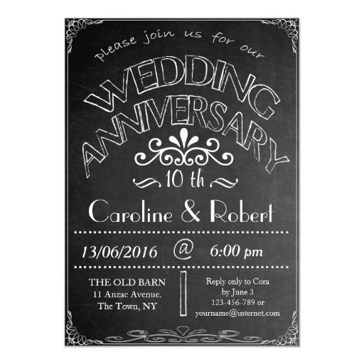 What Is The Gift For 20th Wedding Anniversary: Chalkboard Wedding Anniversary Invitation 10th