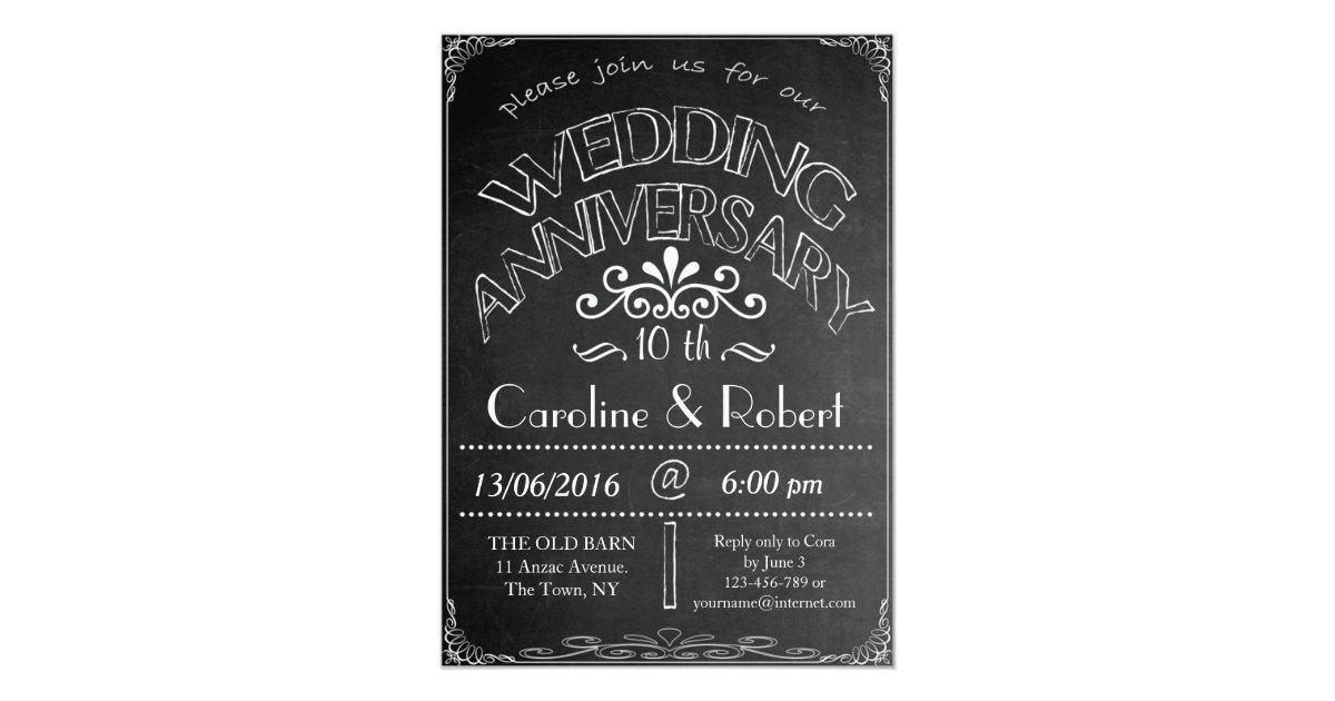 10th Wedding Anniversary Invitations: Chalkboard Wedding Anniversary Invitation 10th