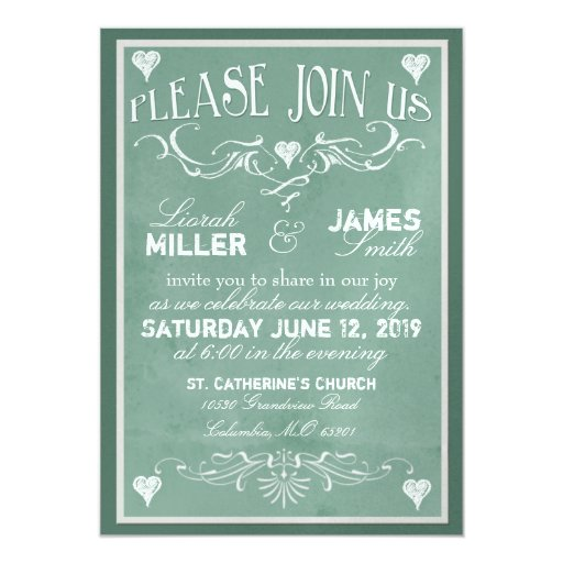 Wedding Invitations Old Fashioned: Chalkboard Wedding Invitation With Old Fashioned