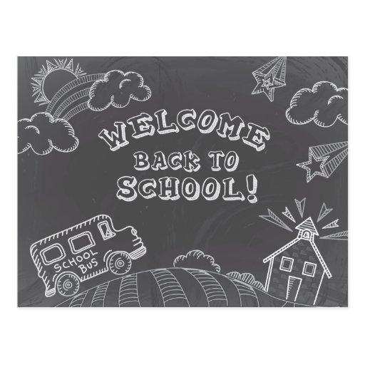 Chalkboard Welcome Back To School Postcard