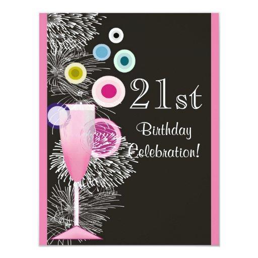 Champagne Bubbles 21st Birthday Party Invitation
