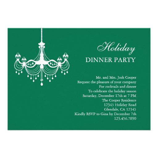 Dinner Party Invitations: Chandelier Holiday Dinner Party Invitation
