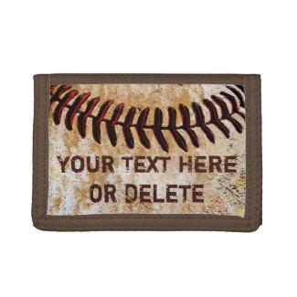 Cheap Faux Vintage Personalized Baseball Wallet