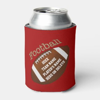 Cheap Football Team Gifts with 4 Lines YOUR TEXT Can Cooler