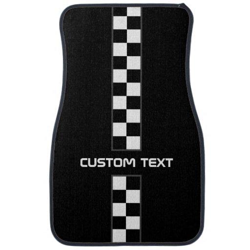 Checkered Mat: Checkered Stripe Car Floor Mats