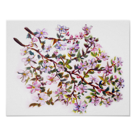 Cheerful Apple Blossom Flowers Acrylic Painting Poster