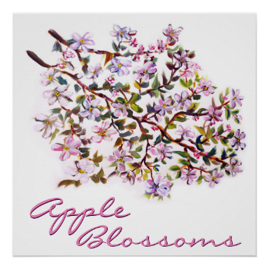 Cheerful Apple Blossom Flowers Acrylic Painting Print