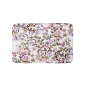 Cheerful Apple Blossom Flowers Acrylic Painting Bath Mats