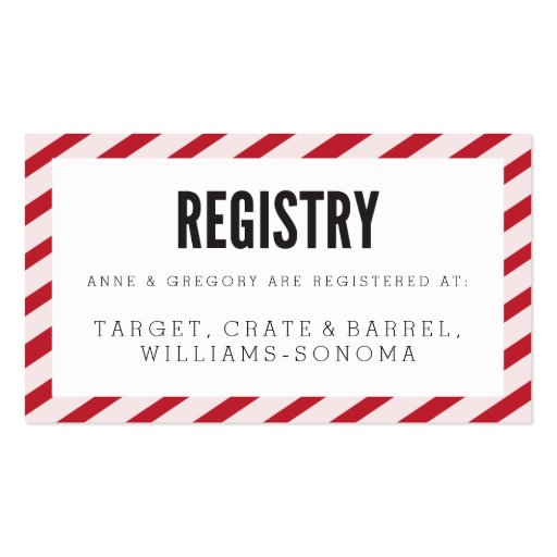 Registry Inserts Template: Cherry Red Carnival Stripes Registry Insert Card