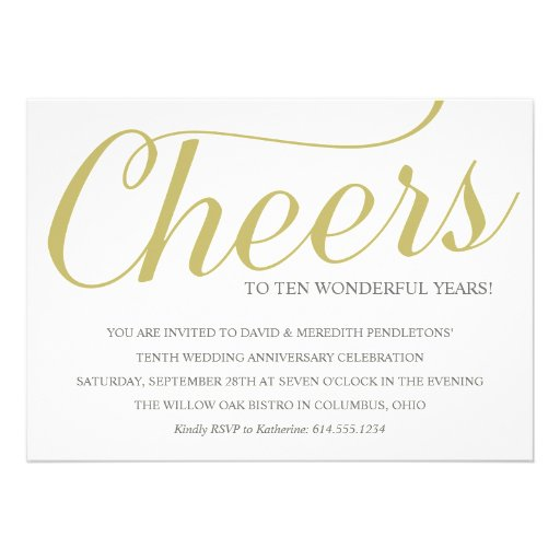 "10th Wedding Anniversary Party Ideas: Chic 10th Wedding Anniversary Party Invitation 5"" X 7"