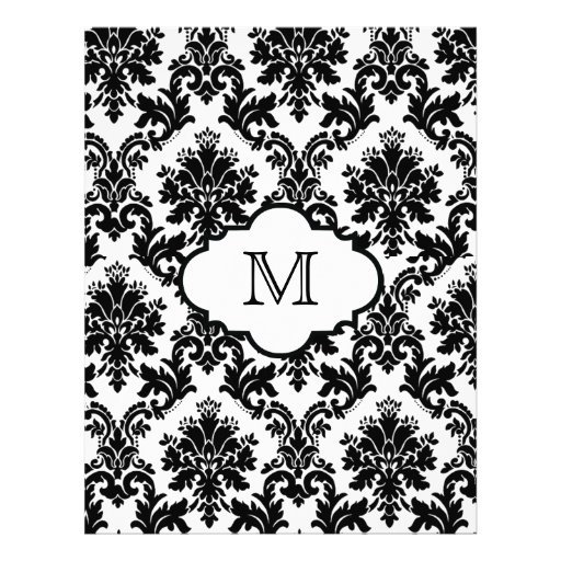 Chic Black White Monogram Damask Scrapbook Paper ...