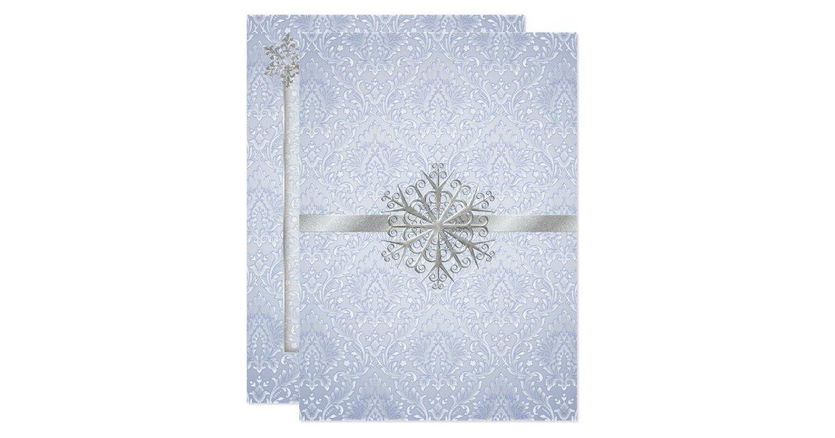 Winter Themed Wedding Invitations: Chic Blue Winter Snowflake Wedding Invitation