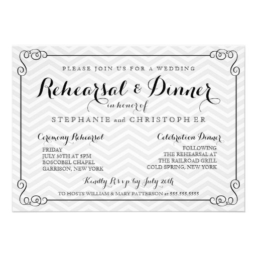 Wedding Rehearsal Invitations Templates: Chic Chevron Wedding Rehearsal & Dinner Invitation