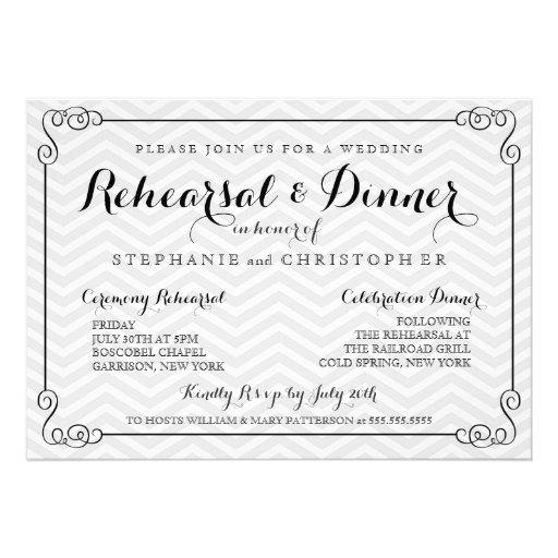 Wedding Rehearsal Invitations: Chic Chevron Wedding Rehearsal & Dinner Invitation