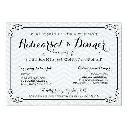 Ideas For Wedding Rehearsal Dinner: Chic Chevron Wedding Rehearsal & Dinner Invitation