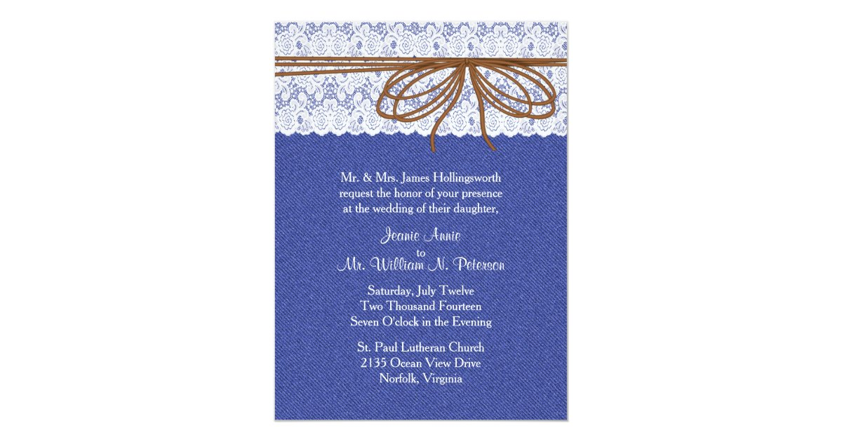 Denim Wedding Invitations: Chic Denim And Lace Wedding Invitation