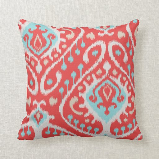 Chic Elegant Red And Turquoise Tribal Ikat Print Throw