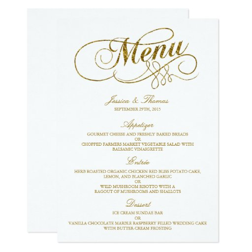 Chic faux gold foil wedding menu template card zazzle for Menu templates for weddings