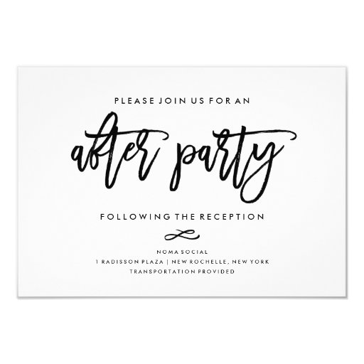 Invitation For Reception After The Wedding: Chic Hand Lettered Wedding After Party Invitation