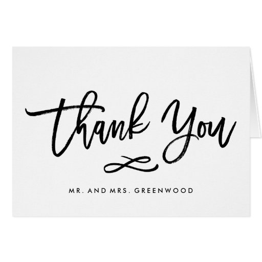 Sample Thank You Cards For Wedding Gifts: Chic Hand Lettered Wedding Thank You Card