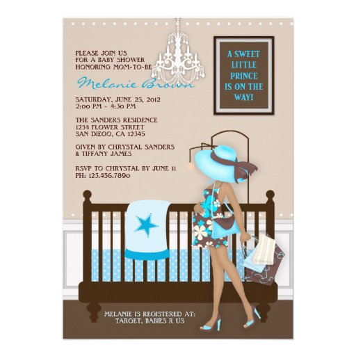 "Chic Modern Mom Contemporary Baby Shower Invite 5"" X 7"