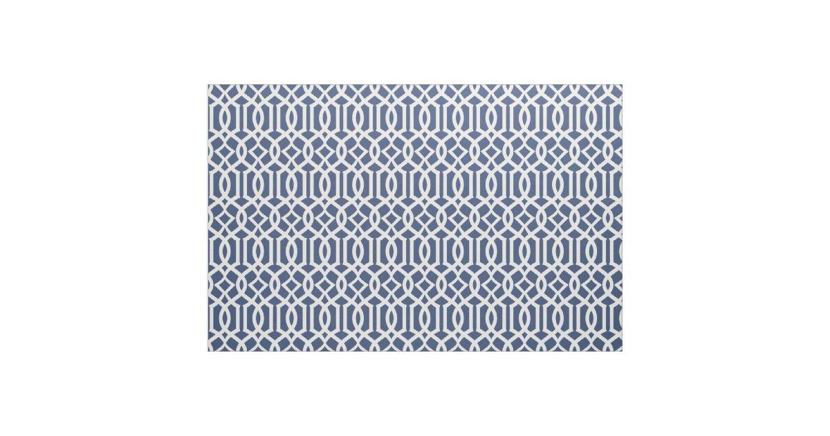 Chic Navy Blue Trellis Lattice Pattern Fabric Zazzle
